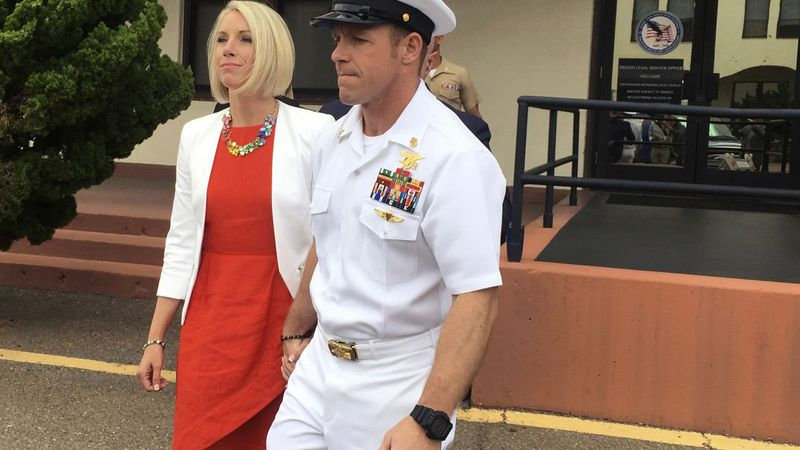 FILE - In this Thursday, May 30, 2019, file photo, Navy Special Operations Chief Edward...